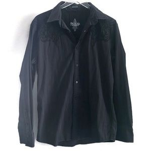 Roar Men's Black Button Down Shirt Embroidered L